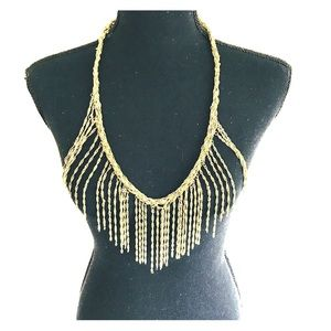 Gold Colored Fringe Necklace